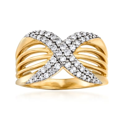 .45 ct. t.w. Diamond X Ring in 14kt Yellow Gold