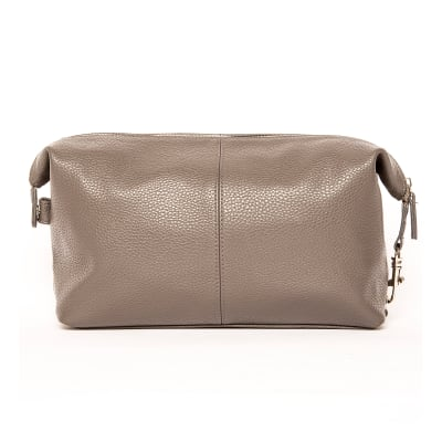 """Brouk & Co. """"Standford"""" Gray Genuine Leather Toiletry Bag"""