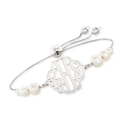 4-7.5mm Cultured Pearl Monogram Bolo Bracelet in Sterling Silver