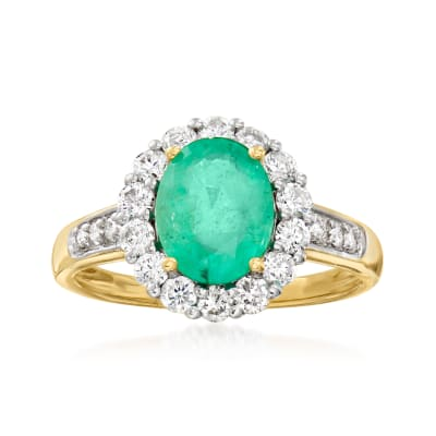 1.50 Carat Emerald and .57 ct. t.w. Diamond  Ring in 18kt Yellow Gold
