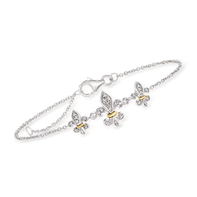Diamond-Accented Fleur-De-Lis Bracelet in Sterling Silver with 14kt Yellow Gold