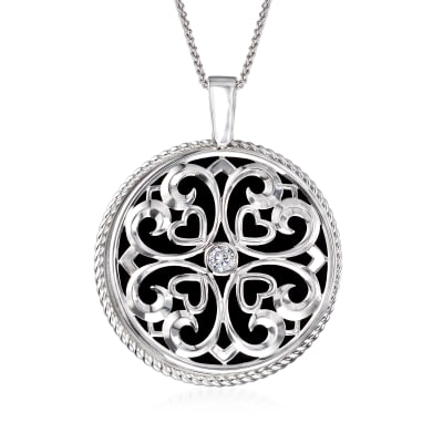 .50 Carat CZ Heart Mirror and Magnifier Adjustable Necklace in Sterling Silver