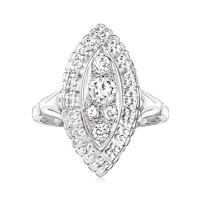 C. 1950 Vintage .40 ct. t.w. Diamond Navette Ring in 14kt White Gold