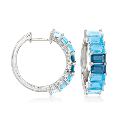 4.60 ct. t.w. Tonal Blue Topaz Hoop Earrings in Sterling Silver
