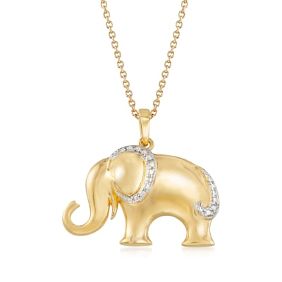 18kt Gold Over Sterling Silver Elephant Pendant Necklace with Diamond Accent