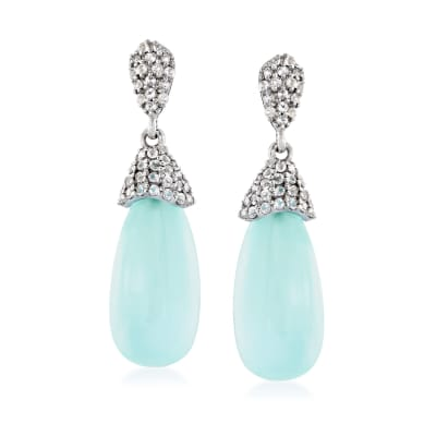 Aqua Chalcedony and 2.40 ct. t.w. White Topaz Drop Earrings in Sterling Silver