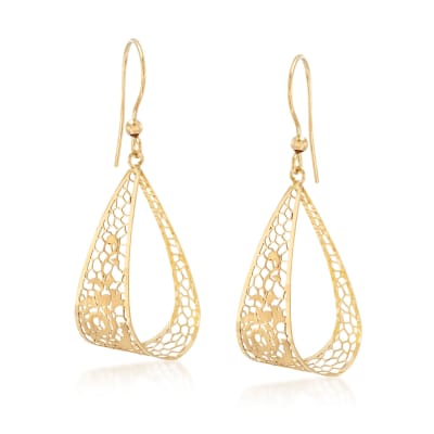 Italian 18kt Yellow Gold Brushed and Polished Openwork Floral Drop Earrings