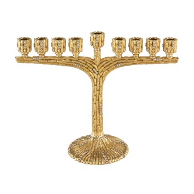 Bamboo-Designed Gold Menorah