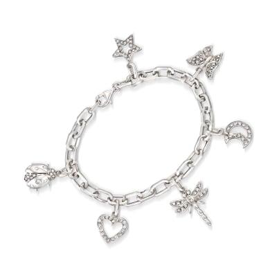 C. 2000 Vintage 1.10 ct. t.w. Diamond Charm Bracelet in 18kt White Gold