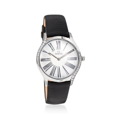 Omega De Ville Tresor Women's 33mm Stainless Steel Watch with Diamonds and Black Fabric Strap