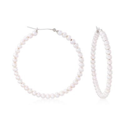 3-4mm Cultured Pearl Hoop Earrings in Sterling Silver