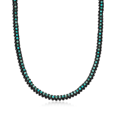 Turquoise and 110.00 ct. t.w. Black Spinel Necklace in Sterling Silver