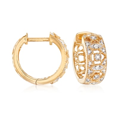 .10 ct. t.w. Diamond Hoop Earrings in 18kt Gold Over Sterling