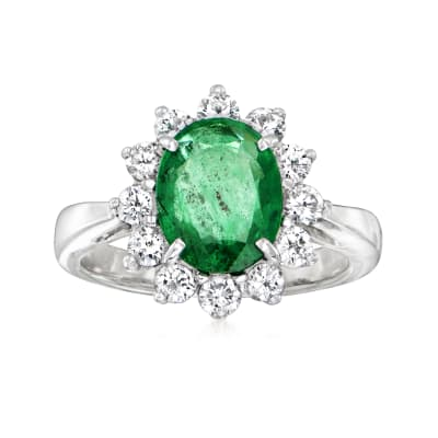 2.01 Carat Emerald Ring with .84 ct. t.w. Diamonds in 14kt White Gold