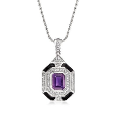 2.10 Carat Amethyst, .40 ct. t.w. White Topaz and Black Enamel Vintage-Inspired Pendant Necklace in Sterling Silver