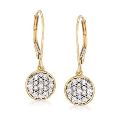 .50 ct. t.w. Pave Diamond Disc Drop Earrings in 14kt Yellow Gold