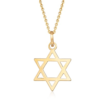 14kt Yellow Gold Star of David Pendant Necklace