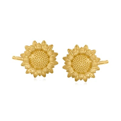 14kt Yellow Gold Sunflower Stud Earrings