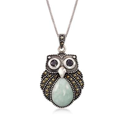Jade and Marcasite Owl Pendant Necklace with Black Onyx in Sterling Silver