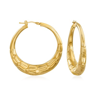 Italian 18kt Gold Over Sterling Animal Print Hoop Earrings