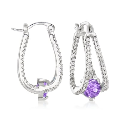 1.60 ct. t.w. Amethyst and .80 ct. t.w. White Topaz Double-Hoop Earrings in Sterling Silver