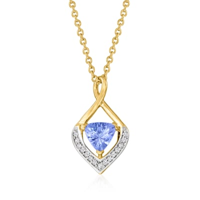 .80 Carat Tanzanite Pendant Necklace with White Topaz Accents in 18kt Gold Over Sterling