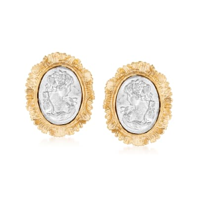 Italian Two-Tone Sterling Silver Cameo-Style Earrings