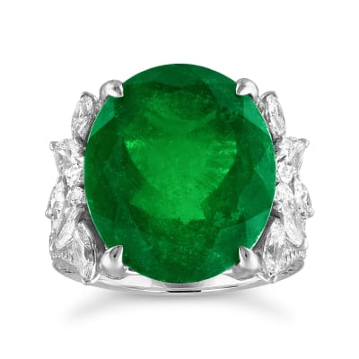 13.00 Carat Colombian Emerald and 2.65 ct. t.w. Diamond Ring in 18kt White Gold