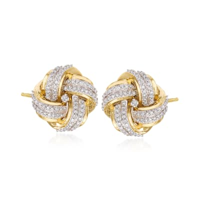 .50 ct. t.w. Diamond Love Knot Earrings in 14kt Yellow Gold