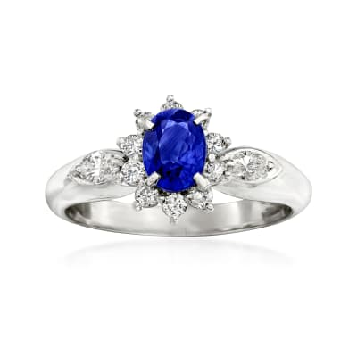 C. 1990 Vintage .84 Carat Sapphire and .41 ct. t.w. Diamond Ring in Platinum
