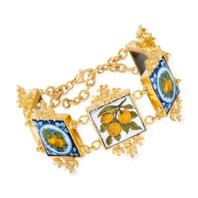 Italian Majolica Tile Bracelet in 18kt Gold Over Sterling