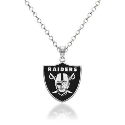 "Sterling Silver NFL Oakland Raiders Enamel Pendant Necklace. 18"""