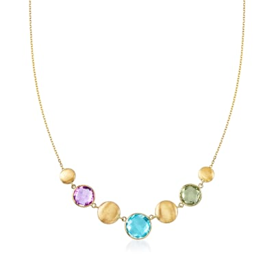 14.00 ct. t.w. Multi-Gemstone Necklace in 14kt Yellow Gold