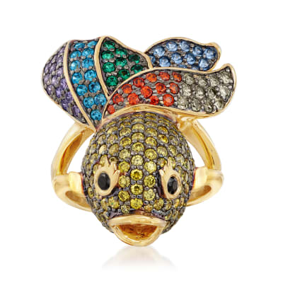 3.00 ct. t.w. Multicolored CZ Fish Ring in 18kt Gold Over Sterling