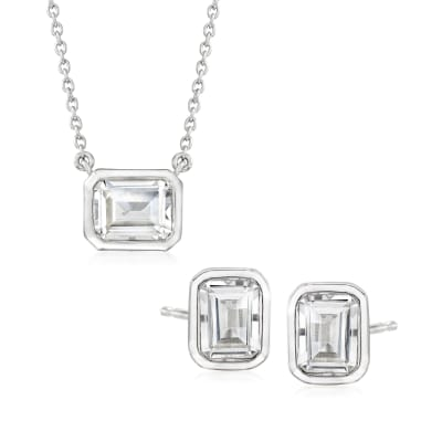 6.60 ct. t.w. White Topaz Jewelry Set: Earrings and Necklace in Sterling Silver