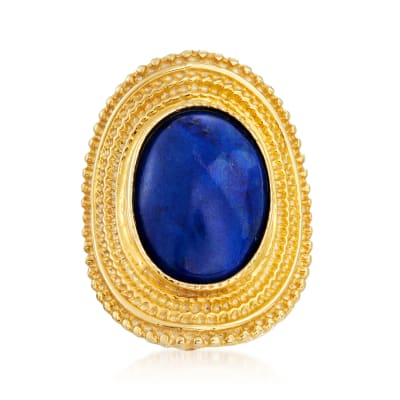 Italian Lapis Ring in 18kt Gold Over Sterling
