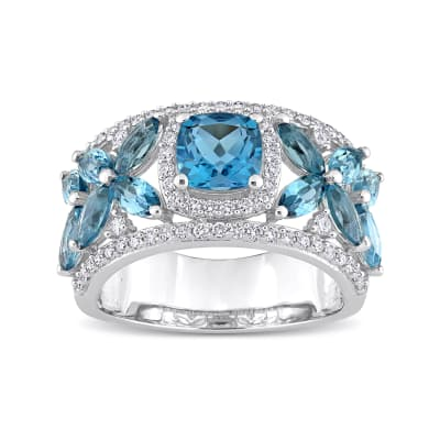 3.50 ct. t.w. London Blue Topaz and .48 ct. t.w. Diamond Flower Ring in 14kt White Gold