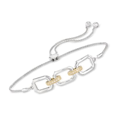 Diamond-Accented Link Bolo Bracelet in Sterling Silver and 14kt Yellow Gold