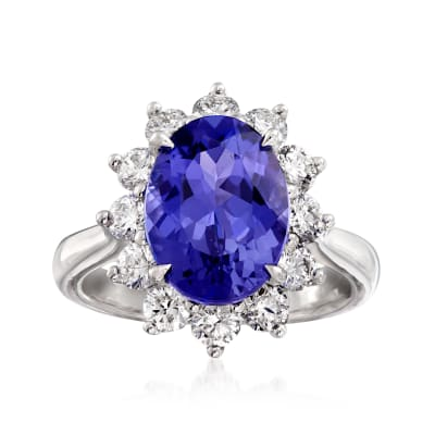 5.00 Carat Tanzanite and 1.30 ct. t.w. Diamond Ring in 18kt White Gold