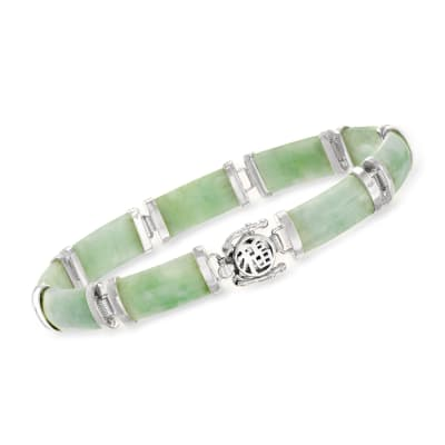 "Jade ""Good Fortune"" Bracelet in Sterling Silver"