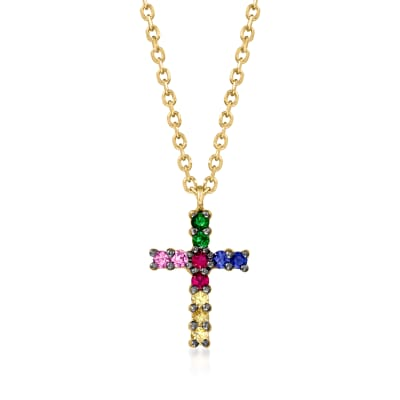.15 ct. t.w. Multicolored Sapphire Cross Pendant Necklace in 14kt Yellow Gold with Multi-Gem Accents