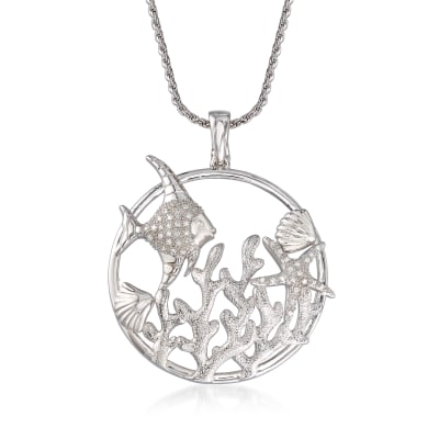.15 ct. t.w. Diamond Sea Life Pendant Necklace in Sterling Silver