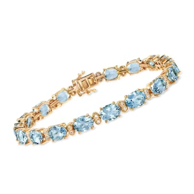 19.00 ct. t.w. Aquamarine and .43 ct. t.w. Diamond Bracelet in 14kt Yellow Gold