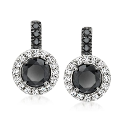 3.00 ct. t.w. Black and White Diamond Drop Earrings in Sterling Silver