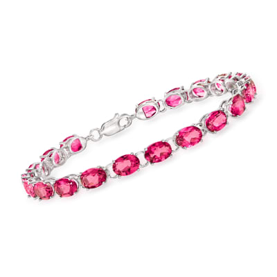 19.00 ct. t.w. Pink Topaz Tennis Bracelet in Sterling Silver