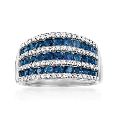 1.30 ct. t.w. Sapphire and .70 ct. t.w. White Zircon Multi-Row Ring in Sterling Silver