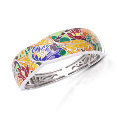 "Belle Etoile ""Dragonfly"" Green and Gold Enamel Bangle Bracelet with CZ Accents in Sterling Silver"