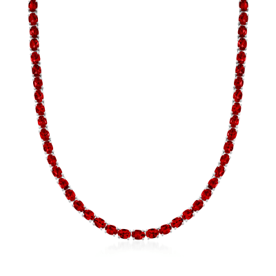50.00 ct. t.w. Garnet Tennis Necklace in Sterling Silver