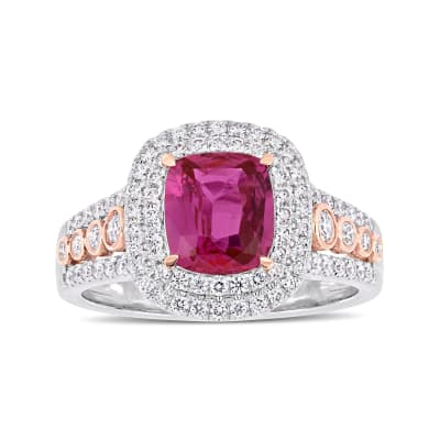 1.61 ct. t.w. Pink Sapphire and .24 ct. t.w. Diamond Ring in 14kt Two-Tone Gold
