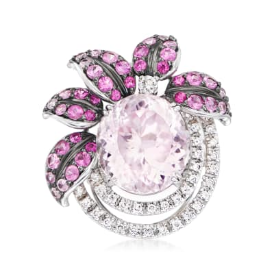 C. 2000 Vintage 16.00 Carat Kunzite and 2.11 ct. t.w. Pink Sapphire Ring with .53 ct. t.w. Diamonds in 18kt White Gold